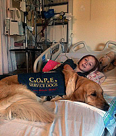 Stephanie and COPE service dog Flare